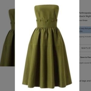 Olive Green Anthropologie Retro Swing Maeve Dress